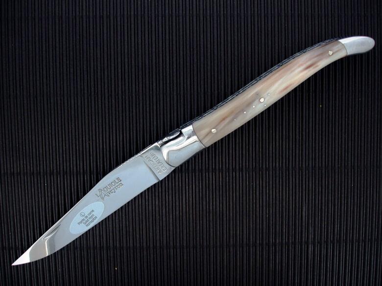 Laguiole Aveyron 12cm corne ressort forgé-0