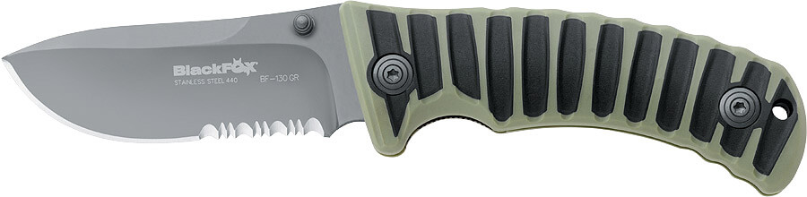 Fox Black fox drop point bland green handle-0