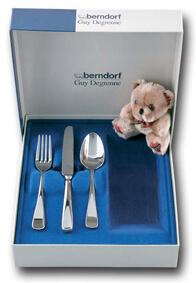 Berndorf coffret 3 couverts enfant métal argenté-0