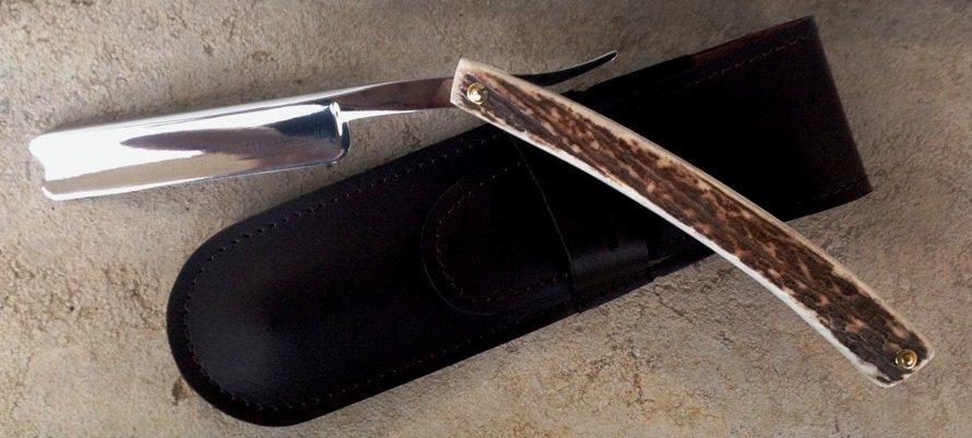 Rasoir Coupe Chou acier inox 5/8 bois de cerf Ambiance Cade-0