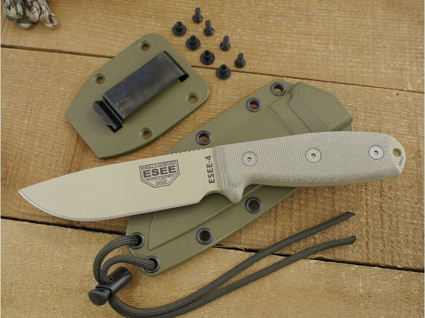 Esee 4 olive plain edge + clip-5590
