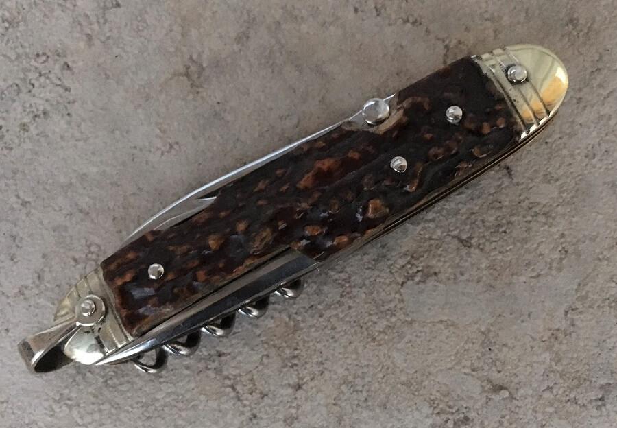 Couteau canif Multi-usages bois de cerf 6 usages - Couteaux Fontaine